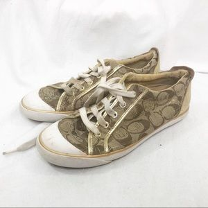 Coach women's sneakers Barrett lace up gold shoes